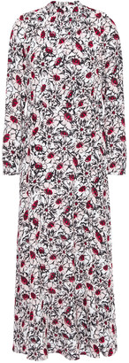 Markus Lupfer Tara Gathered Floral-print Crepe Midi Dress