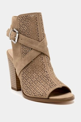 Restricted Mallow Laser Cut Heeled Sandal - Taupe