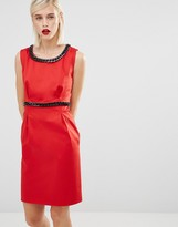 Love Moschino Red Dress with Black Chain Embellishment