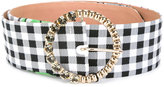 Blumarine checked belt - women - Cotton/Leather/Metal (Other)/glass - 90