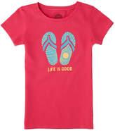 Life is Good Girls' Sunshine Flip Flop Crusher T-Shirt