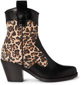 Alberto Zago Leather Western Ankle Booties