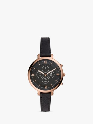 Fossil FTW7035 Women's Monroe Leather Strap Smartwatch, Black