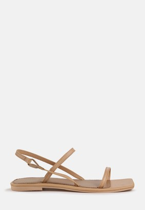 Missguided Nude Double Strap Slingback Flat Sandals