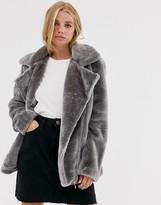 Brave Soul adora faux fur long biker jacket