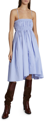 Chloé Spaghetti-Strap Ruched Fit-&-Flare Dress