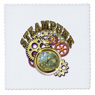 3drose 3dRose A Steampunk them along with metal gears, cogs, pocket watch and text. - Quilt Square, 6 by 6-inch