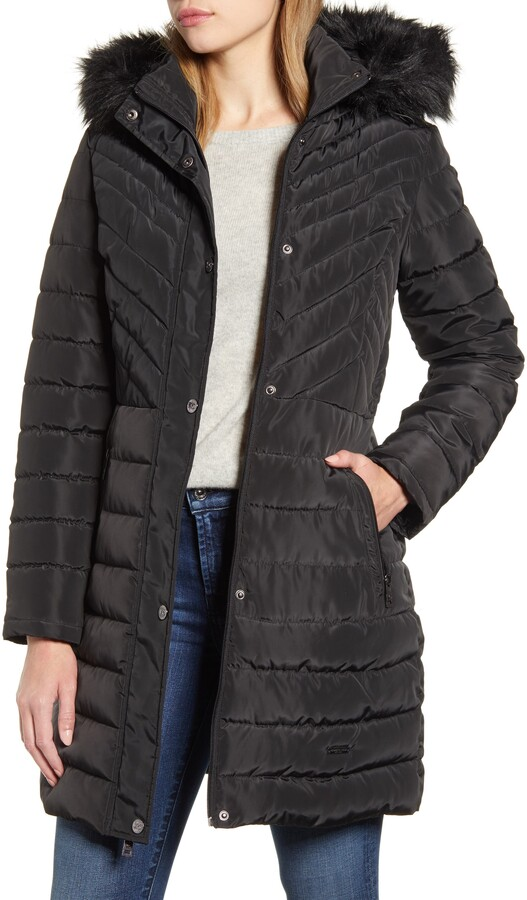 Kenneth Cole New York womens Quilted Puffer Jacket With Faux Fur Trimmed Hood