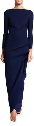 Chiara Boni Cassandre Long-Sleeve Shirred Column Gown