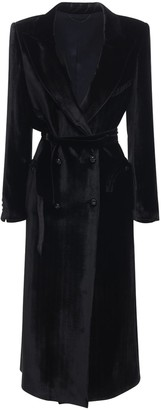BLAZÉ MILANO Belted Silk Blend Long Coat