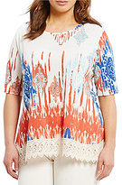 Multiples Plus Elbow Sleeve Printed Accent Lace Hem Knit Top