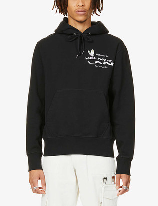 Helmut Lang Logo and graphic-print cotton-jersey hoody