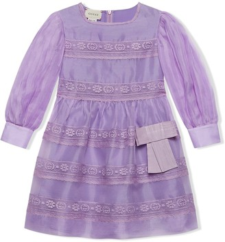 Gucci Kids Lace-Inserts Long-Sleeved Dress