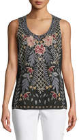 Johnny Was Katrina Embroidered Linen Tank, Plus Size
