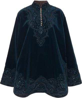 Etro Button-Embellished Embroidered Velvet Mini Dress