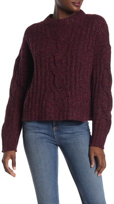 360 Cashmere Destiny Marled Cable Knit Cashmere Sweater