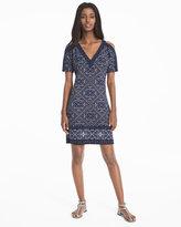 White House Black Market Cold-Shoulder Printed Shift Dress