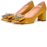 Rochas Satin Bow Pump in Dark Yellow
