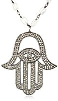 Azaara Hamsa Pave Champagne Diamond and Moonstone Chain Pendant Necklace (3.53cttw, I2-I3 Clarity)