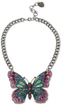 Betsey Johnson Hematite-Tone Pavé and Stone Butterfly Collar Necklace