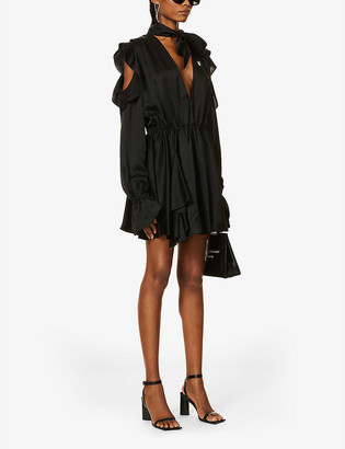 Off-White Ruffled crepe-satin mini dress