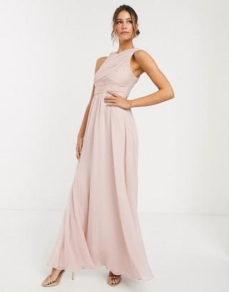 Asos Design DESIGN Bridesmaid maxi dress with soft pleated bodice-Pink
