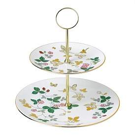 Wedgwood Wild Strawberry Gold 2 Tier Cake Stand