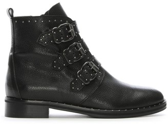 Daniel Nibble Black Leather Studded Biker Boots
