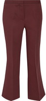 Burberry Cropped Wool And Silk-blend Flared Pants - Merlot