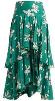 Isa Arfen Tiered magnolia-print silk skirt