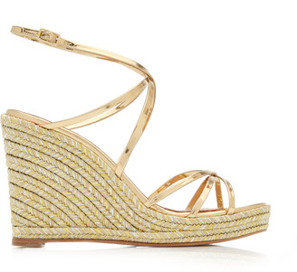 Aquazzura Gin Metallic Leather Espadrille Sandals