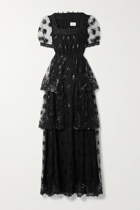 Erdem Ashby Tiered Lace-trimmed Embroidered Tulle Gown - Black