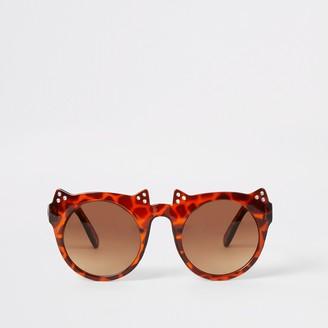 River Island Mini girls Brown tortoiseshell cat sunglasses