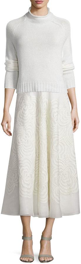 Ralph Lauren Roxanne Embroidered Midi Skirt, Cream