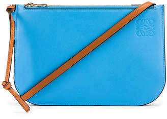 Loewe Gate Double Zip Pouch in Tan & Sky Blue | FWRD