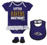 NFL Baltimore Ravens Little Sweet Size 0-3M 3-Piece Creeper, Bib, and Bootie Set