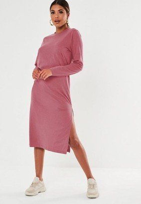 Missguided Blush Basic Long Sleeve Midi T Shirt Dress
