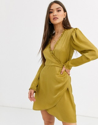 Neon Rose wrap front mini dress in hammered satin