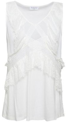 Claudie Pierlot Mousseline-paneled Lace-trimmed Button-embellished Jersey Tank
