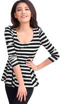 Allegra K Lady Long Puff Sleeves Scoop Neck Stripes Peplum Top S