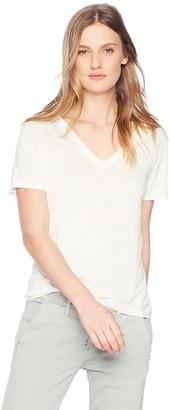 Enza Costa Women's Loose Short Sleeve V-Neck Linen T-Shirt