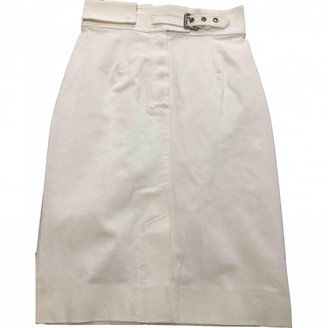 Saint Laurent White Cotton - elasthane Skirt for Women Vintage