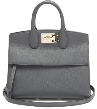 Salvatore Ferragamo The Studio Grained-leather Bag - Dark Grey