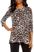 Multiples Crew-Neck Leopard Print 3/4 Sleeve Tunic