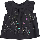 Bonpoint COTTON EMBROIDERED BLOUSE-BLACK SIZE 6