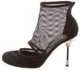 Christian Dior Satin Mesh-Trim Ankle Boots