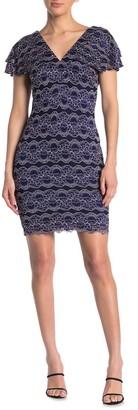 Kensie Lace Flutter Sleeve Sheath Dress