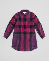 Burberry Girls' Check Shirtdress, Dark Purple, 4Y-10Y