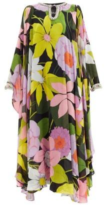 Richard Quinn Hannah Floral-print Chiffon Kaftan Gown - Pink Multi