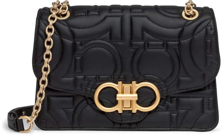 Salvatore Ferragamo Gancino Quilting black leather shoulder bag